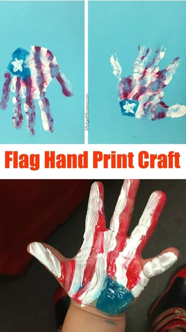 Flag Hand Print Craft Made With Kids Hands Midgetmomma