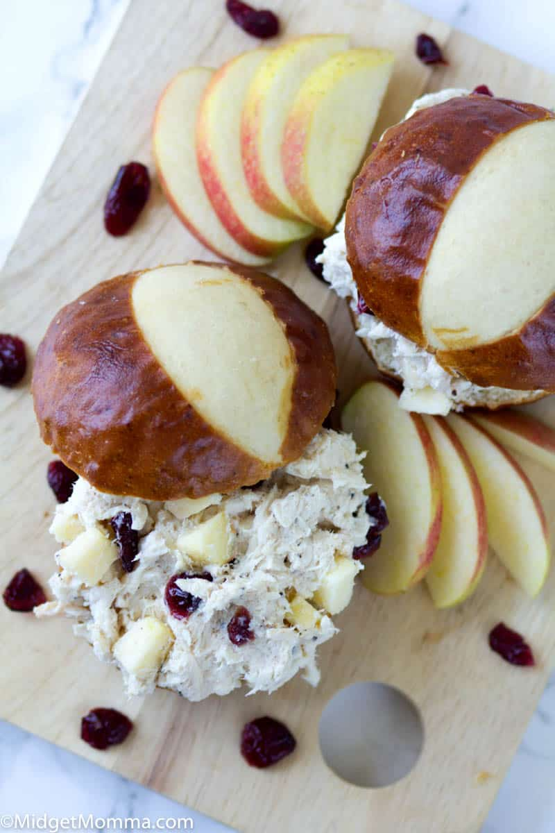 Easy Chicken Salad on a pretzel bun