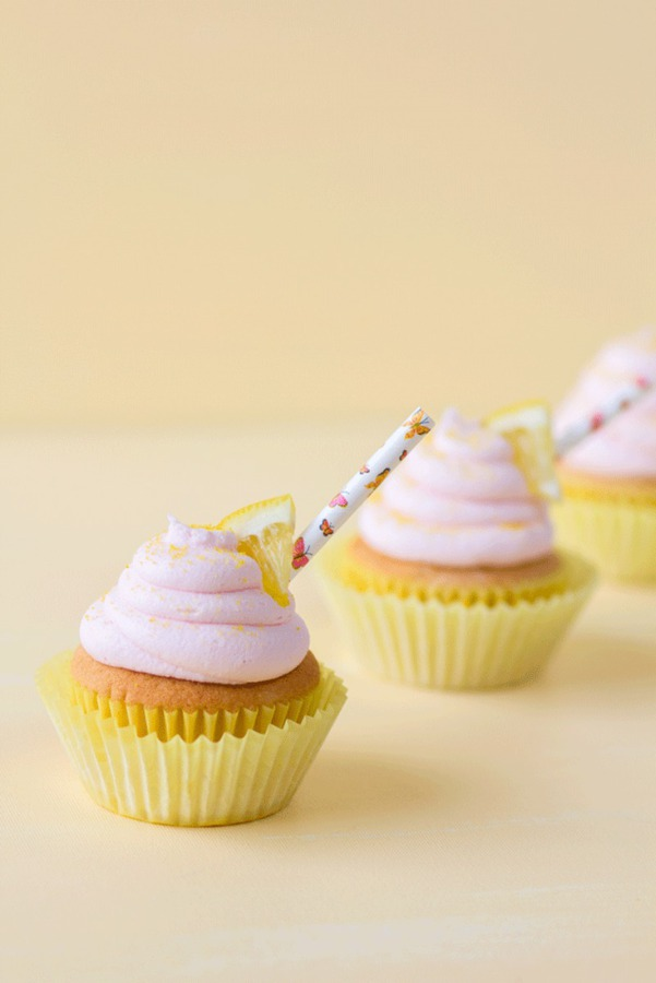 Strawberry cupcake with pink lemonade buttercream frosting