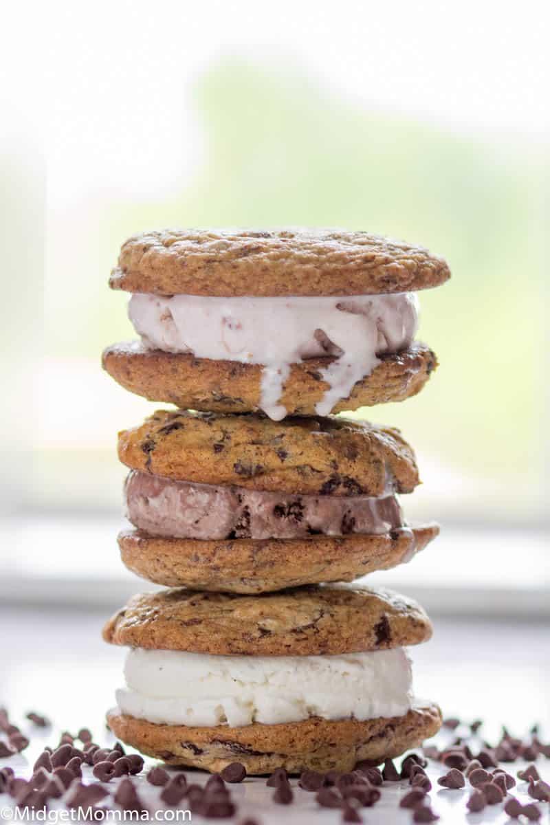 3 ice cream cookie sandwiches