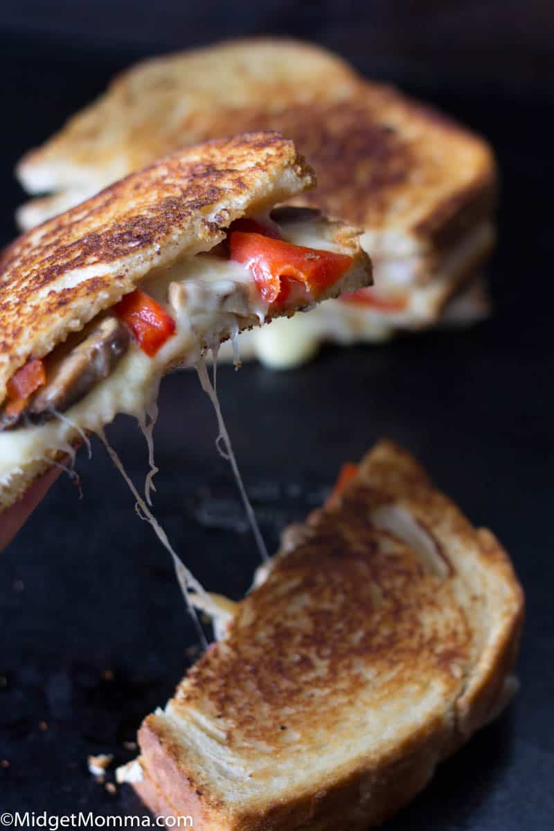 Roasted Red Pepper, Mushroom and Provolone Grilled Cheese