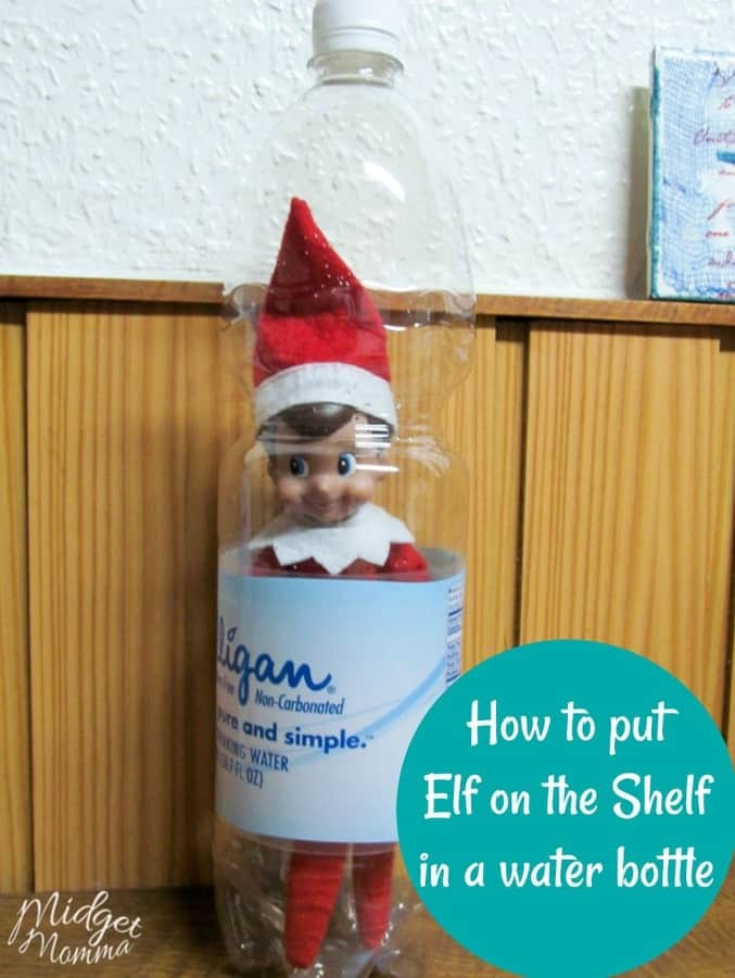 """Answer the question, """"Where's Elf on the Shelf?"""" with this great idea for Hiding in the Water Bottle! It's so fun, easy, and kids will love it!"""
