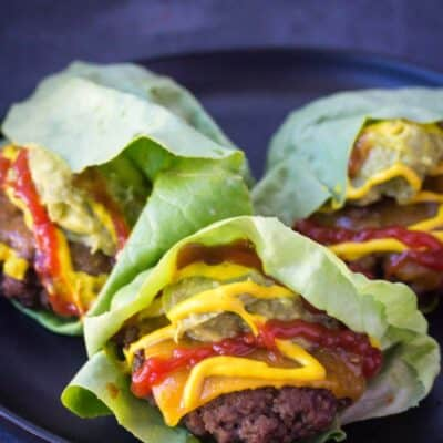 Keto Friendly Hamburger Wraps. Using this secret ingredient you will have a flavorful lettuce you didn't know you could have in a veggie! #keto #hamburger #lowcarb