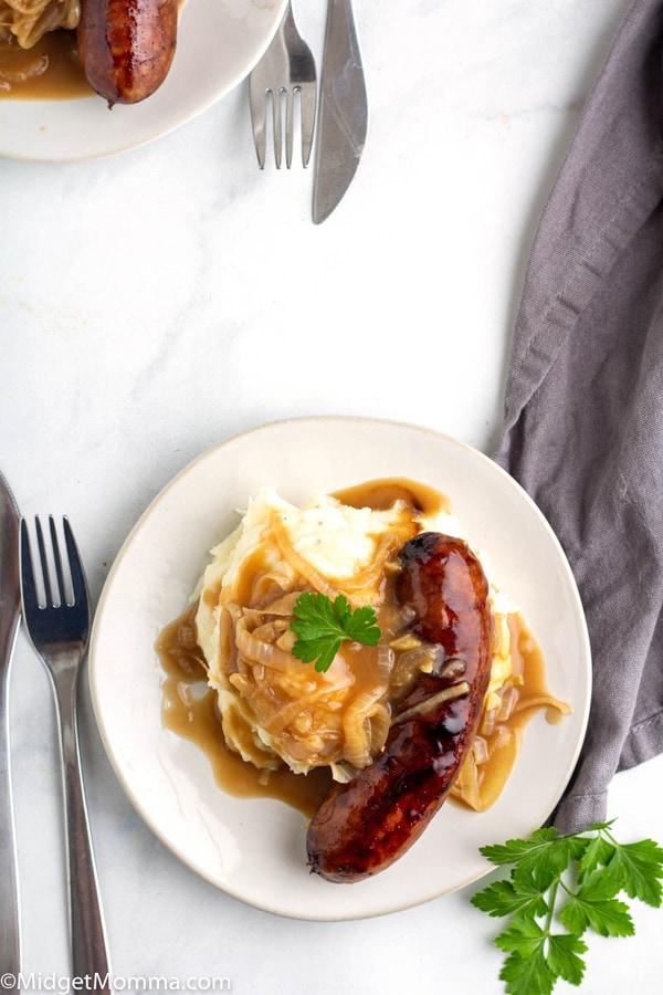 Sausage and mash on a plate