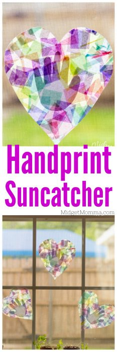 Make this beautiful handprint suncatcher kids craft with the kids. It is great for kids to make and give as a gift to mom and dad. This suncatcher made with handprints Perfect for preschoolers and kindergarteners! It is also a great summer time craft. @Midgetmomma #craft #MothersDay #Handprint #HandprintCraft #kidshandprint #Kidscraft #Summercraft #Handprints #Handprintscraft #Suncatcher #suncatchercraft