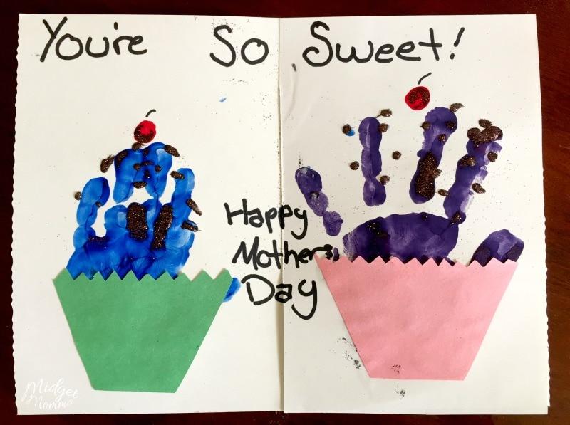 Mother's Day Cupcake Cake handprint card