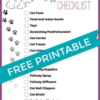 Check list for getting a new cat. Printable check list for new kittens with everything you need to get for a new kitten. #Kitten #Cat #Printable #NewKitten #NewCat #CatNeeds #KidsPrintable