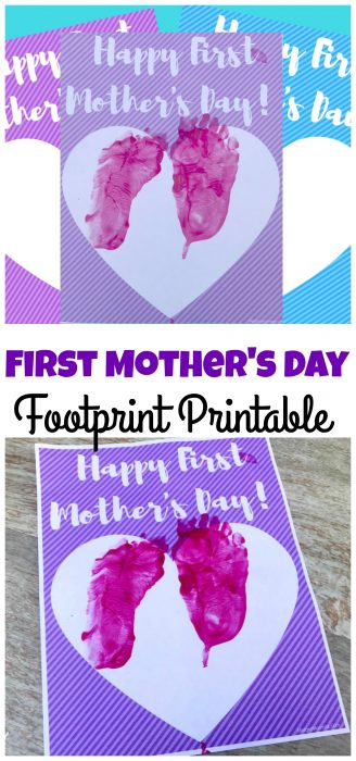 1st Mother's Day footprint printable