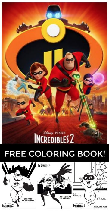Incredibles 2 printable coloring book midgetmomma, coloring pages love