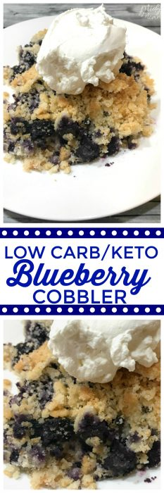 This Low carb Keto Blueberry Cobbler is the perfect easy summer dessert that is keto friendly and low carb. Easy blueberry dessert that every will enjoy. #Lowcarb #blueberry #keto #dessert #BlueberryDessert #KetoDessert #LowCarbDessert