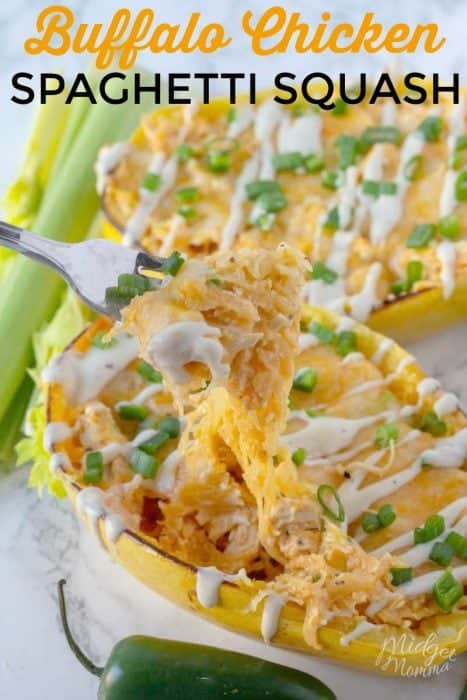 easy buffalo chicken spaghetti squash