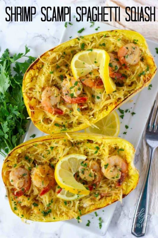 This low carb Shrimp Scampi Spaghetti Squash Recipe is the perfect healthier alternative to the shrimp scampi pasta dish and easy to make! #LowCarb #Squash #Shrimp #SpaghettiSquash #Keto #KetoRecipe #lowCarbDinner #LowCarbChicken #ShrimpScampi