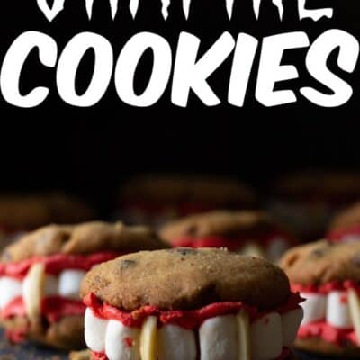 These Vampire cookies are perfect for Halloween. A homemade Chocolate chip cookie, with homemade buttercream frosting, marshmallows and almond slivers make these one creepy and tasty Halloween cookie!