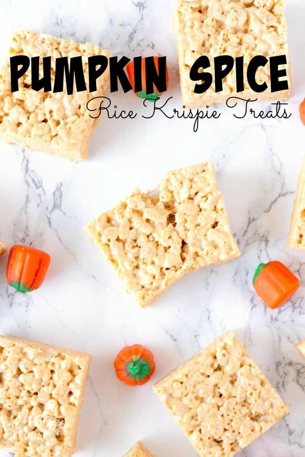 These Pumpkin Spice Rice Krispie treats are amazing and so easy to make. This easy pumpkin spice dessert is perfect for when you need a quick and tasty pumpkin spice dessert! #pumpkin #PumpkinSpice #PumpkinSpiceRecipe #RiceKrispie #FallDessert