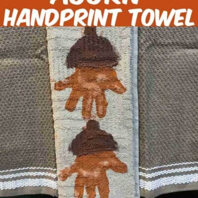 This Acorn Handprint Towel craft is perfect for all kids. Using kids hands, paint, and a kitchen towel you can make these awesome and adorable keepsake hand towels.