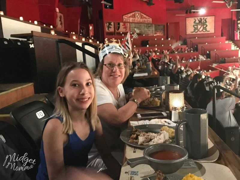 Grandmother and Grandaughter eating dinner at Medival Times