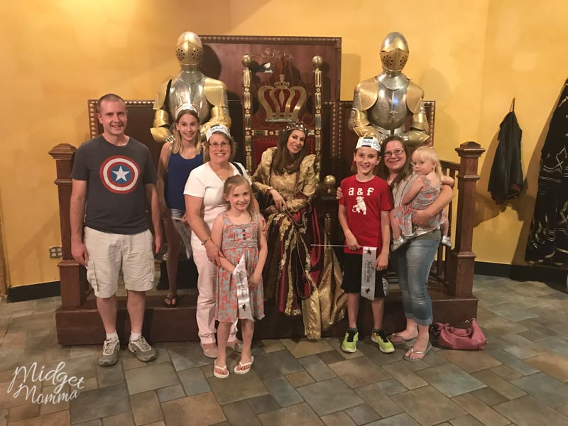Family Photo with the Queen at Medival Times using TripAdvisor to book our trip