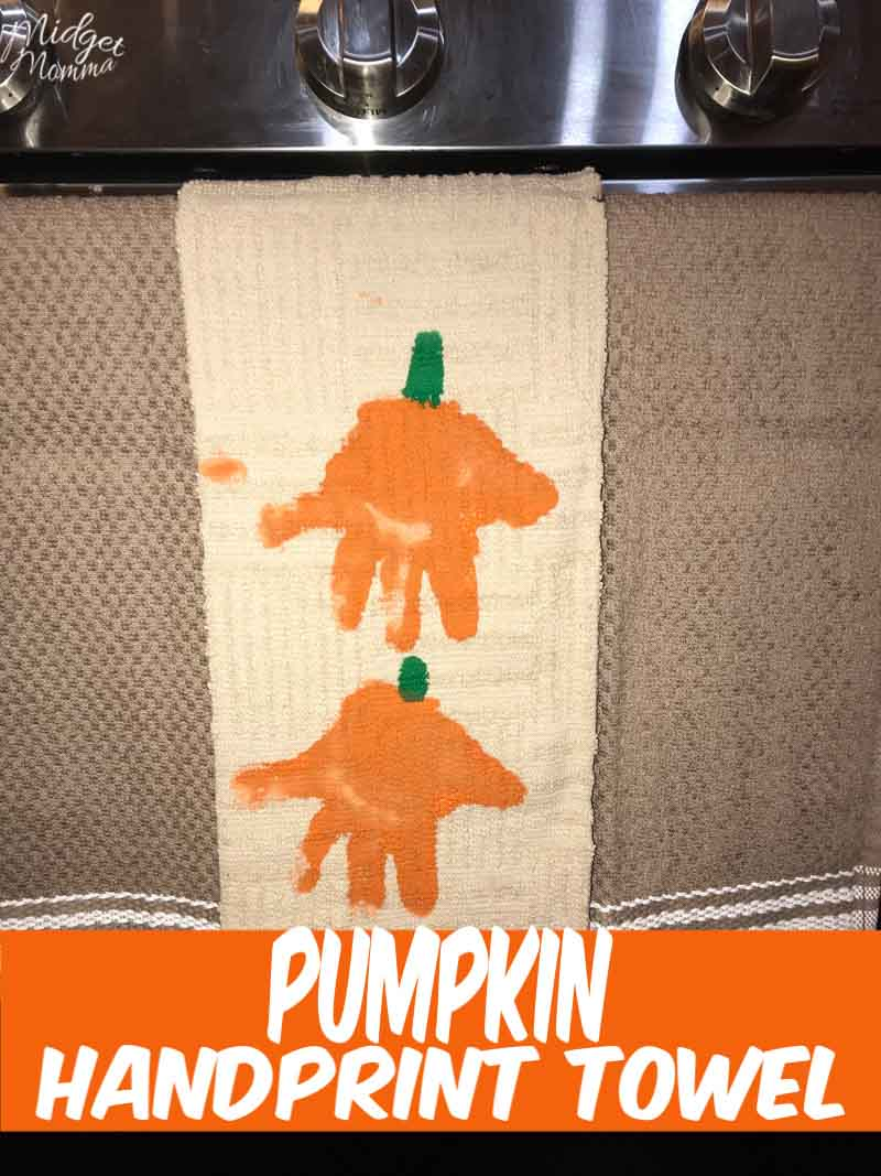 Turn your kids handprints in to adorable pumpkins with this Pumpkin Handprint Towels craft!