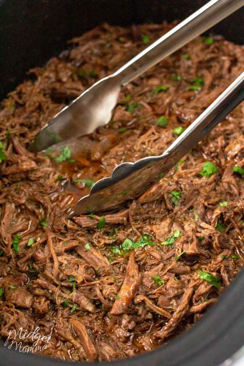 keto Barbacoa in the crockpot done cooking