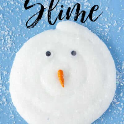 This Melting Snowman slime is made with snow slime. Snow slime is a slime made with glue, fake snow and a few other ingredients that make for a super stretchy and oozey slime recipe. This no borax slime recipe is perfect for the kids.