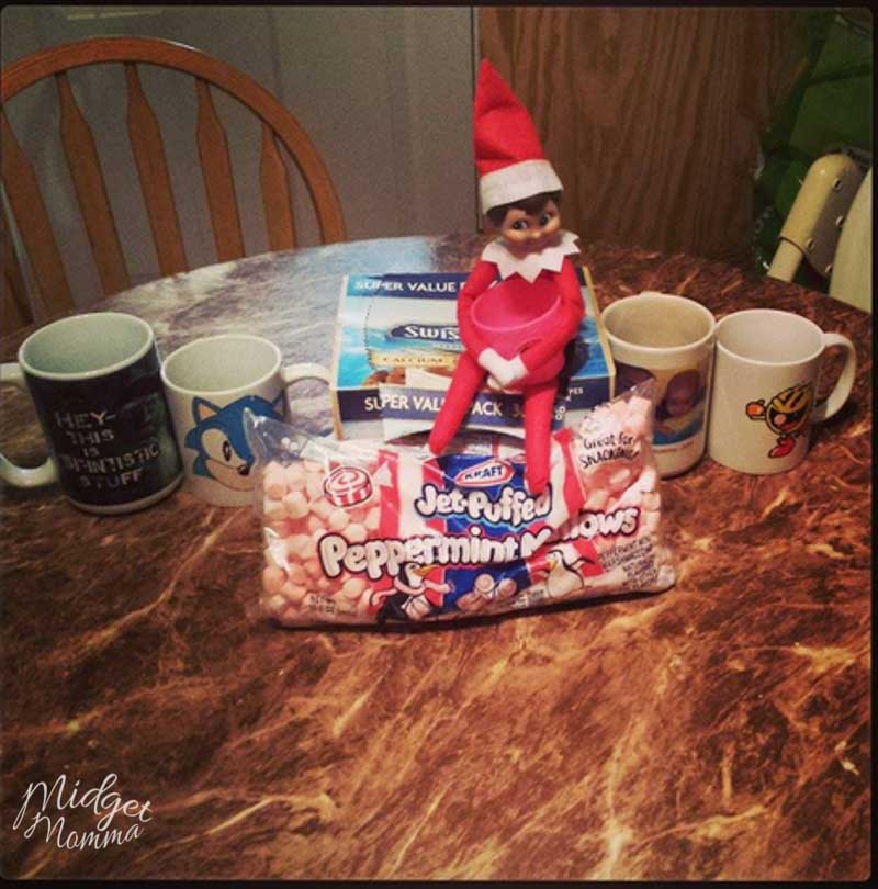 elf on the shelf ideas for toddlers - elf on the shelf brings hot chocolate