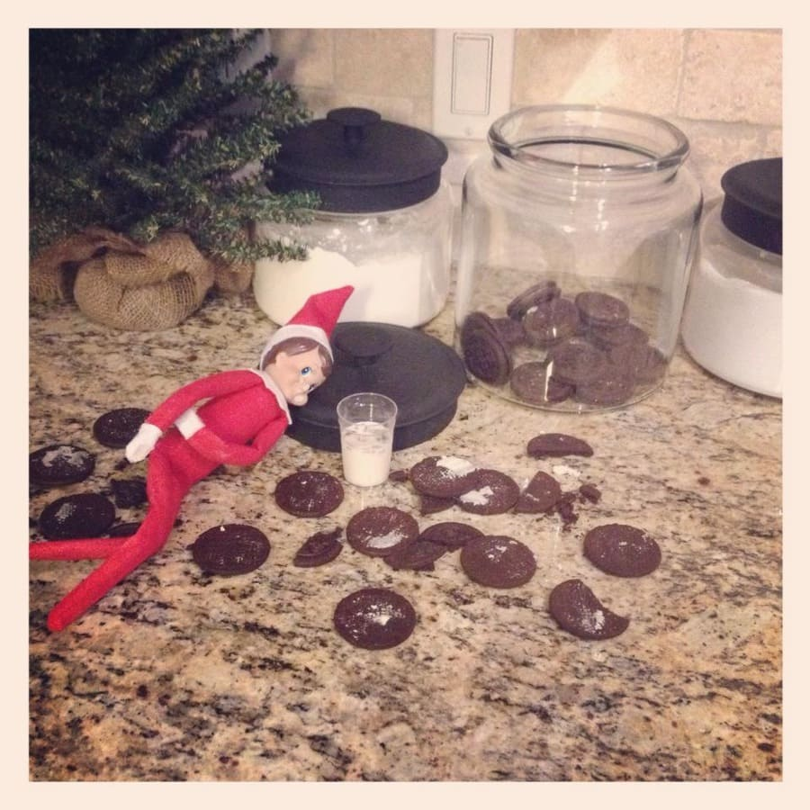 elf on the shelf ideas for toddlers - elf on the shelf eats all the cookies