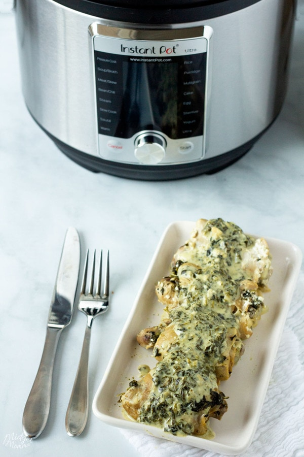 Spinach Artichoke Instant Pot Chicken Thighs