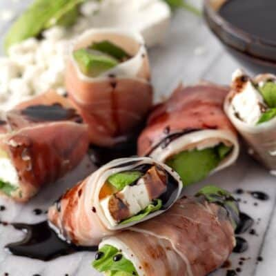 Prosciutto Wrapped Avocado with Feta Cheese and Spinach