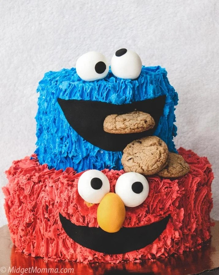 cookie monster cake with homemade buttercream frosting