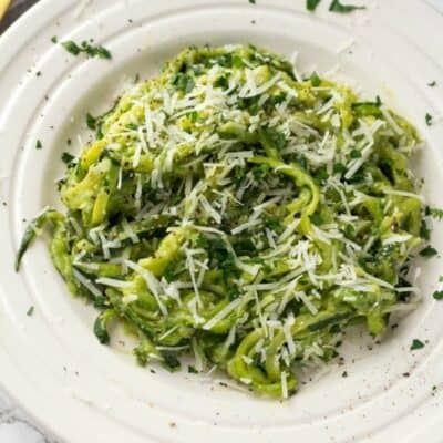 Zoodles With Roasted Garlic Avocado Sauce