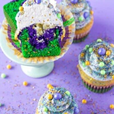 Mardi gras cupcakes with purple cake, green cake and yellow cake mix