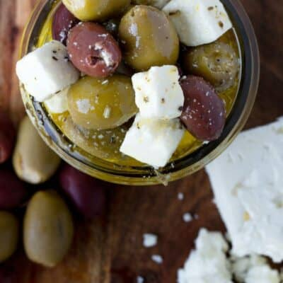 Greek Marinated Olives with Feta Cheese