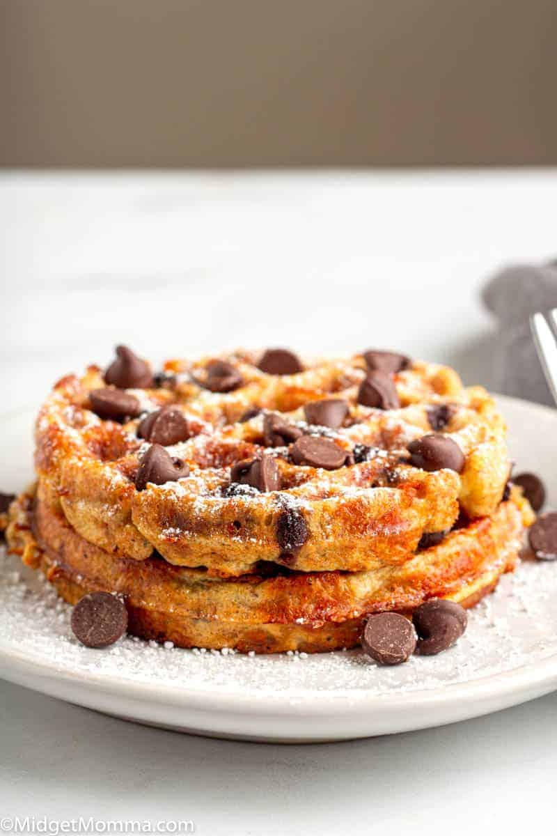 2 Chocolate Chip Chaffles on a plate