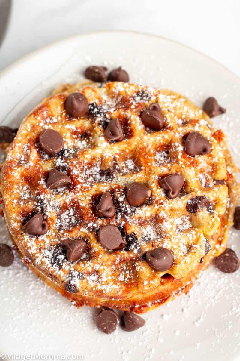 Chocolate Chip Chaffles on a plate