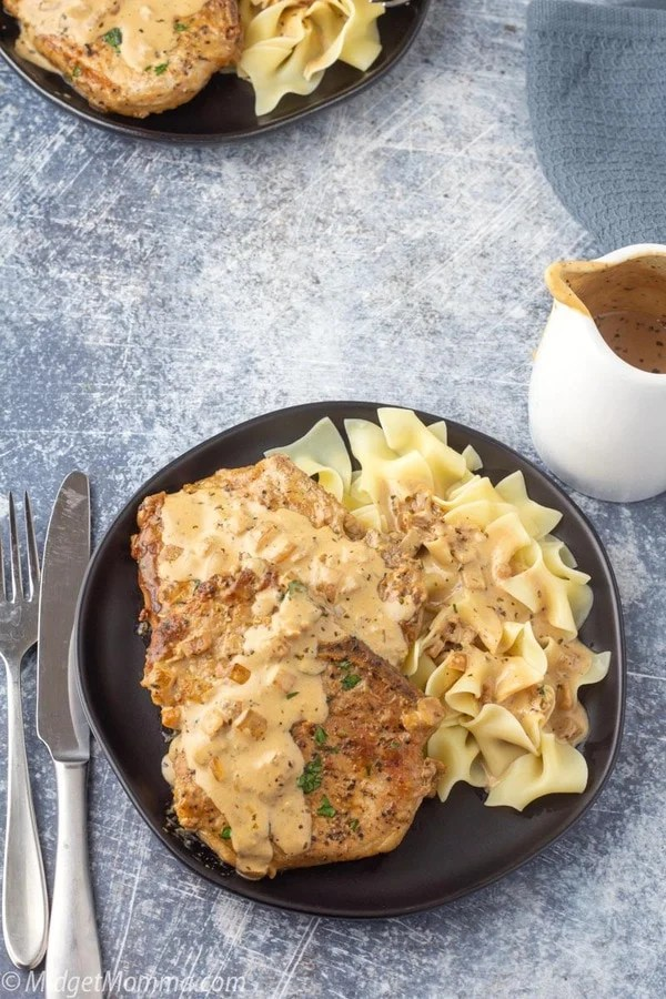 garlic parmesan pork chops with a side of egg noodles