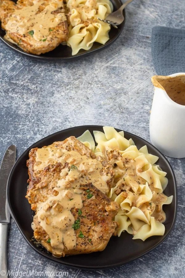 easy low carb pork chop with garlic and parmesan