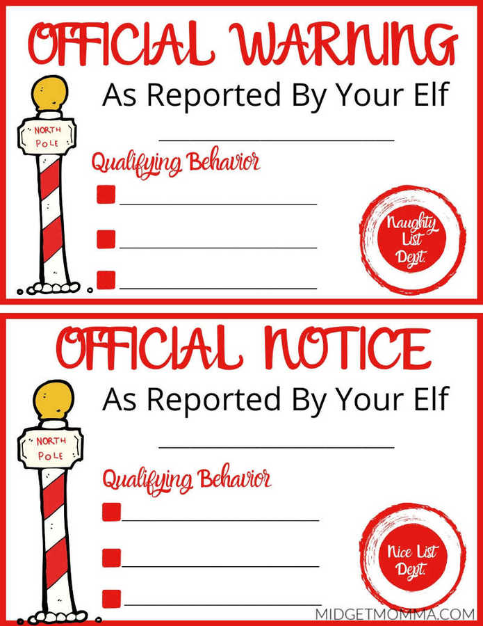 Naughty Or Nice Notice Elf On The Shelf Printable Midgetmomma