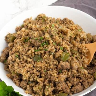 Keto Cauliflower Dirty Rice