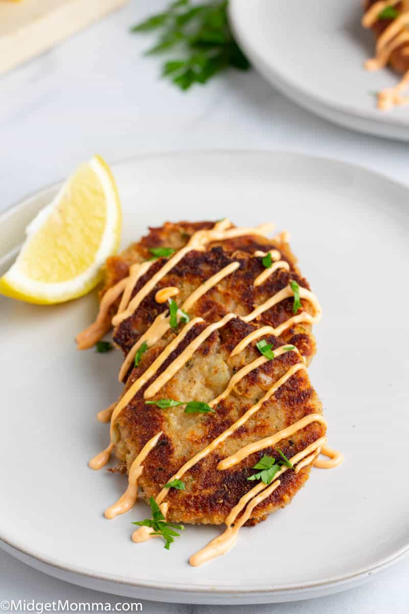 Easy tuna cakes on a white plate