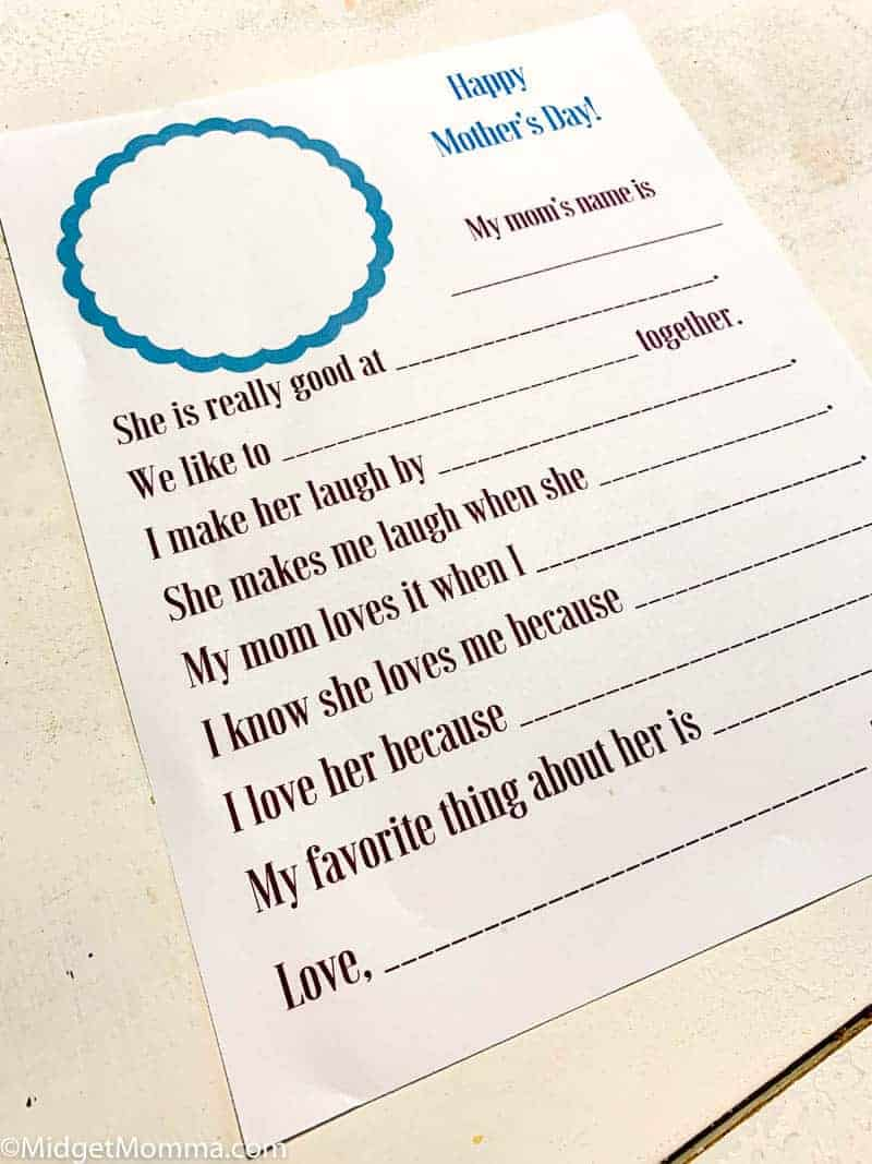 Mother's Day Printable for kids