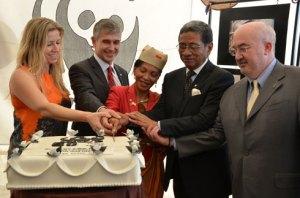Le gâteau d'anniversaire, symbolisant les 50 ans de WWF mis au service de la nature et des communautés de Madagascar.