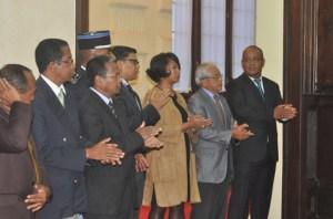 Haja Resampa et Rija Rajohnson (à l'extrême droite) étaient les deux hommes forts d'Ambohitsorohitra sous Andry  Rajoelina.