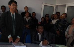 Le nouveau DG des Forêts Fidy Andriamananoro prononçant son discours lors de la passation d'hier.