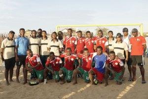 L'équipe nationale malgache de beach soccer après sa probante victoire, à Mahajanga, contre les Seychellois.