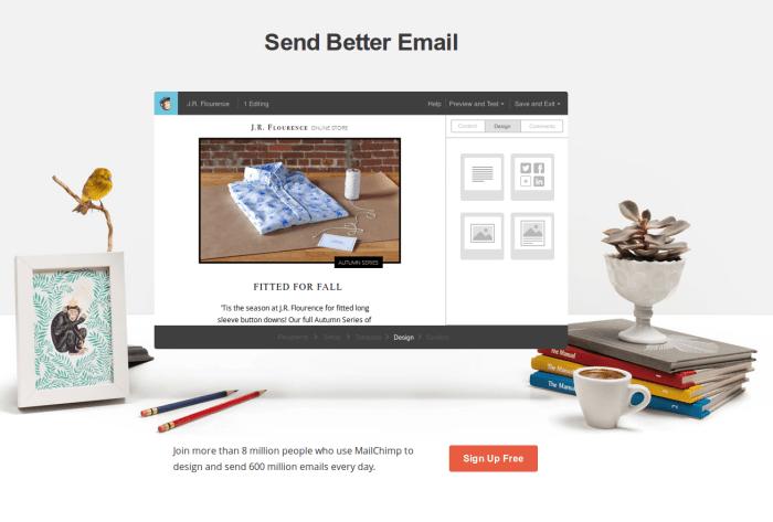 """Na página inicial do Mailchimp, o """"Sign Up"""" é o call-to-action"""