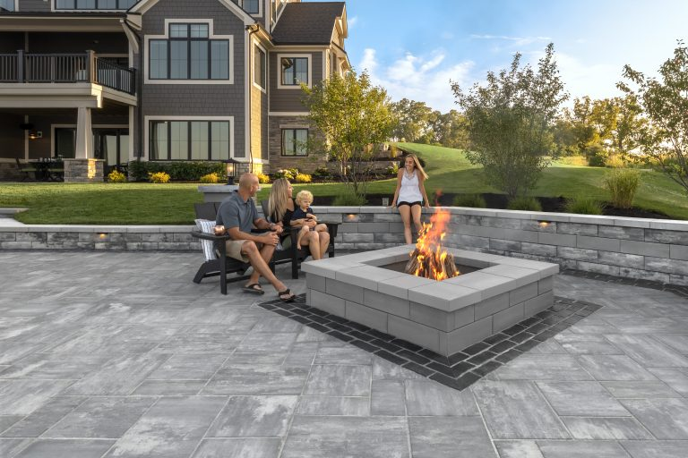 Unilock u cara wall and firepit with beacon hill