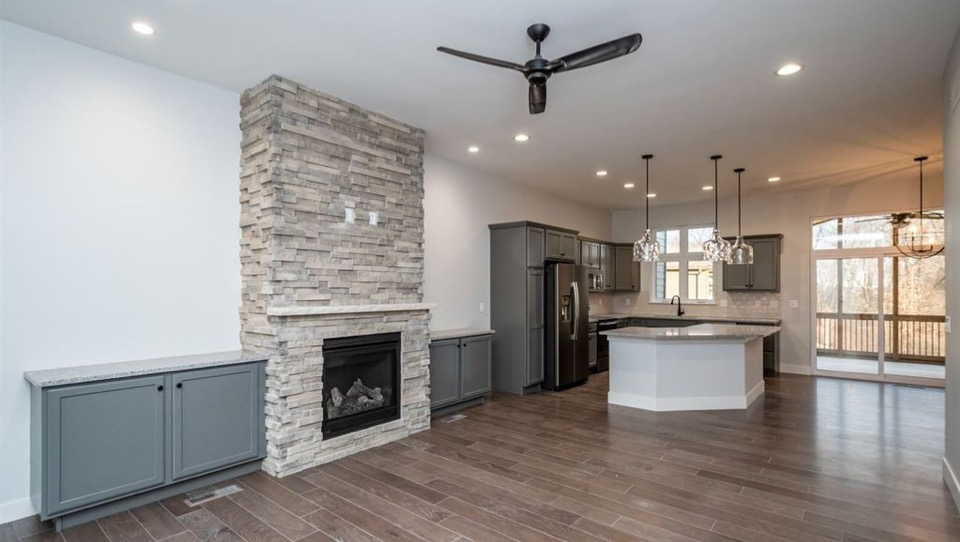 masonry fireplace in residential house