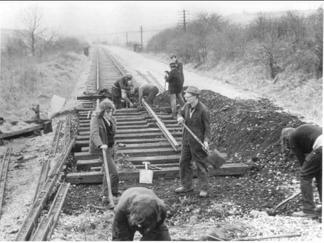 Laying track at Hammersmith. Looking West before the A38 was constructed. c1973