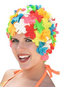 Smiling young woman with floral swimming cap