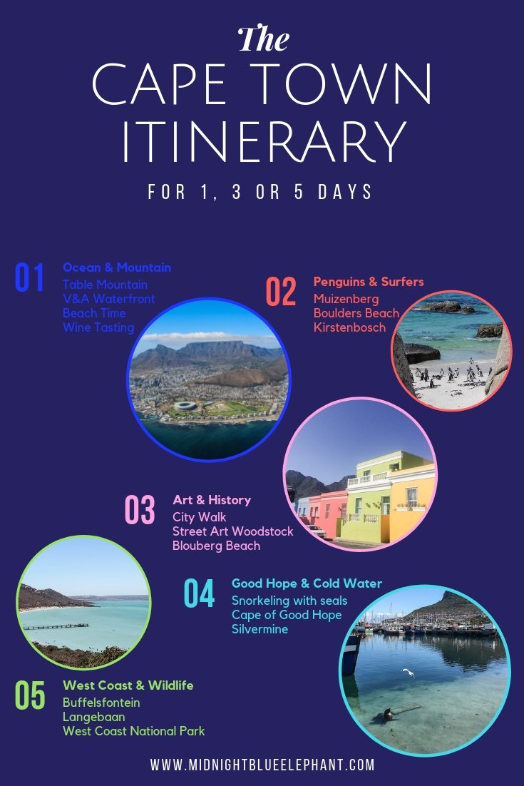 Click through for a unique Cape Town itinerary for 1, 3 or 5 days.  Learn about the best Cape Town tours, sights you shouldn't miss and true insider tips and advice on how to get around and plan your Cape Town holidays. Find gems where to go wine tasting in Cape Town, where to get close to a penguin and a seal, the best beach in the Western Cape as well as restaurant recommendations for Cape Town to keep you going. #capetown #visitcapetown #capetownbeach #southafrica  #capetowntours